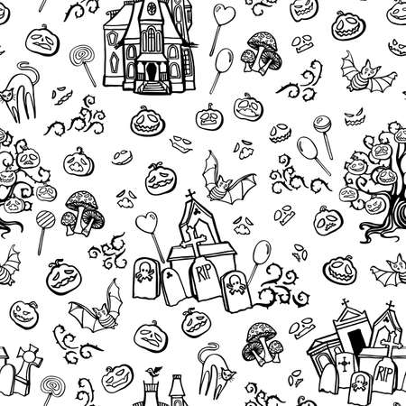 Vector doodle spooky halloween town seamless pattern. Hand drawn line art design. Food, packaging, gift wrap. Modern brush design. Perfect for your creepy party.