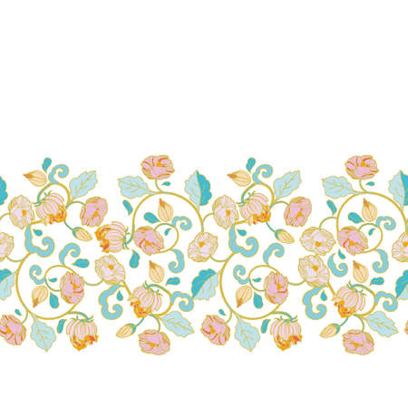 Vector royal baroque intarsia style pastel floral border, seamless design with hand drawn historic florals on white background. Nature background. Surface pattern design.