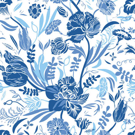 Vector classic vintage porcelain blue royal hand drawn elegant floral seamless pattern with line art and cutout florals on white background. Nature background. Surface pattern design.
