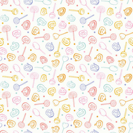 Vector doodle spooky halloween sweets seamless pattern. Hand drawn line art design. Food, packaging, surface design . Modern brush design. Perfect for your creepy party.