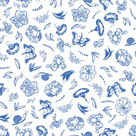 Vector classic, porcelain blue, retro, elegant floral pattern. Seamless royal design with hand drawn line art flowers, butterfly and snail on white background. Nature background. Surface pattern design.