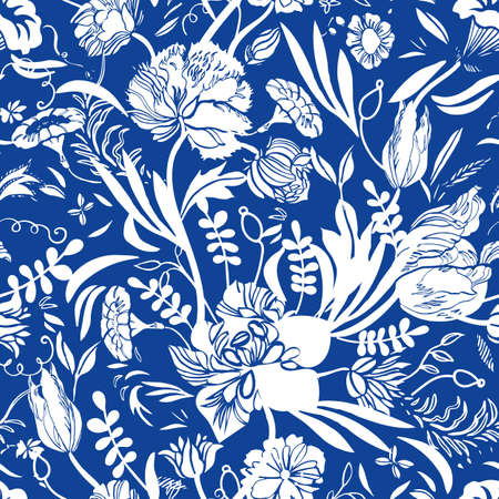 Vector classic royal porcelain blue royal hand drawn elegant floral seamless pattern with line art and cutout florals on blue background. Nature background. Surface pattern design. Ilustrace