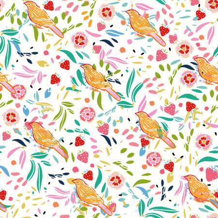 Retro folk art floral bird pattern with strawberry. Vector vintage, embroidery style, hand drawn, floral design with yellow bird. Colourful stylized florals on cream colored background. Cute, fun background. Perfect for stationery, fabric and gift wrap. Ilustração