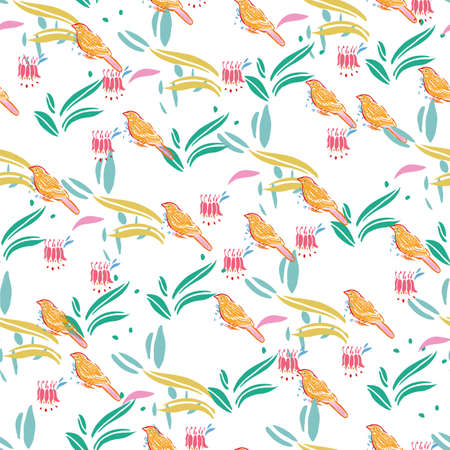 Retro folk art floral bird pattern with columbine. Vector vintage, embroidery style, hand drawn, floral design with yellow bird. Colourful stylized florals on cream colored background. Cute, fun background. Perfect for stationery, fabric and gift wrap. Ilustração