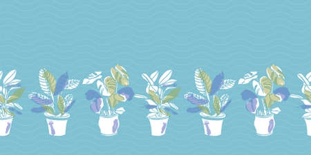 Vector vintage hygge pot plant seamless border. Textured cut out doodle style design. Textile, hand drawn, cozy, modern brush design on blue background. Perfect for plant lovers.