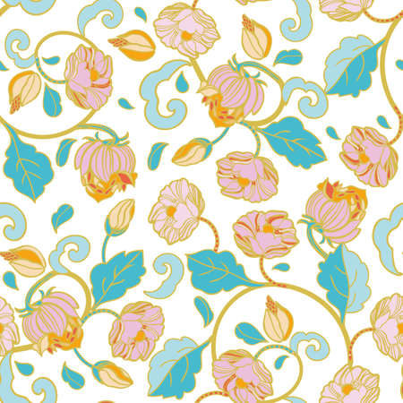 Vector royal baroque intarsia style pastel floral pattern, seamless design with hand drawn vintage florals on white background. Nature background. Surface pattern design.