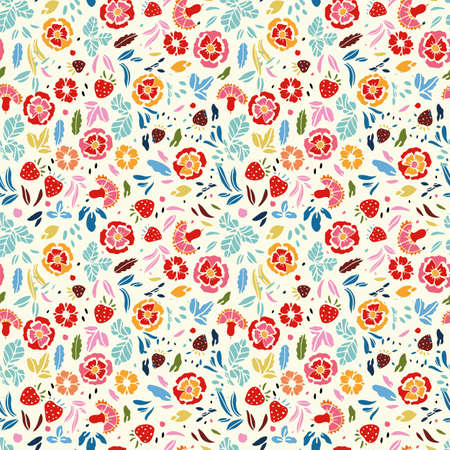 Retro folk art rose summer pattern. Vintage embroidery style hand drawn floral design. Colourful stylized floral and strawberry on white background. Cute, fun background. Perfect for stationery, print and gift wrap.