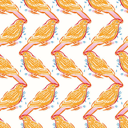 Geometric, modern yellow bird pattern. Linocut style . Vector, cut out shape, stylized colorful bird with off color effect on white background. Perfect for fabric, print and gift wrap.