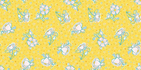 Retro folk art flower and dot pattern. Vector illustration. Retro wild rose, all over pattern. Vintage kitchen, folk art, hand drawn floral design. Line art florals and cut out shapes on vibrant yellow background. Elegant nature background. Perfect for kitchen ware, wallpaper and gift wrap. Ilustração