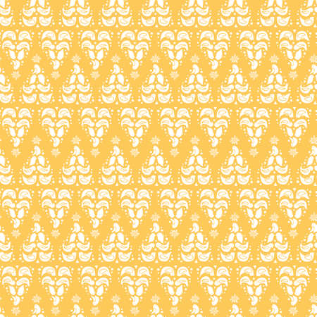 Vector zigzag folk art christmas tree seamless pattern. Lace style design with bird, star and snow flake on yellow background. All over print. Perfect for christmas season and winter holiday.