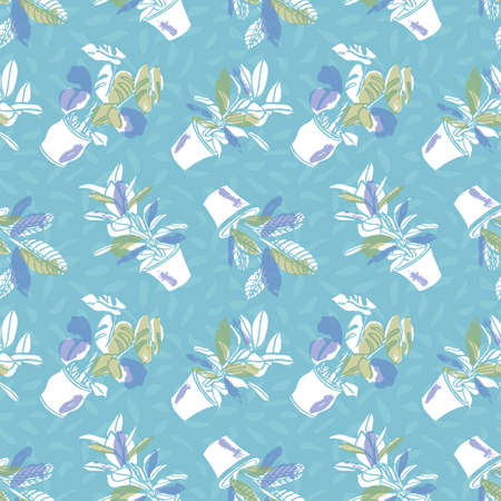 Vector vintage hygge pot plant seamless pattern. Textured cut out doodle style design. Textile, hand drawn, cozy, modern brush design on blue background. Perfect for plant lovers.