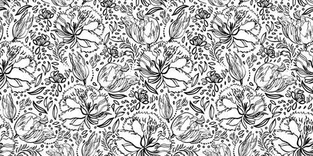 Retro baroque floral line art pattern. Vintage, country style, hand drawn floral bouquet. Line art florals on white background. Elegant nature background. Perfect for home decor, fabric and gift wrap. Ilustração