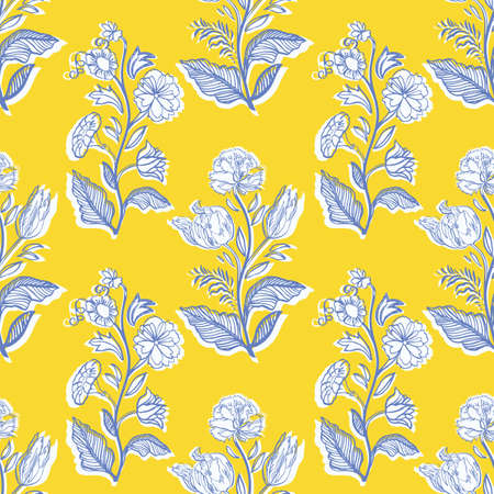 Retro antique floral half drop pattern. Vintage kitchen hand drawn floral bouquet design. Line art florals on cut out shape, vibrant yellow background. Elegant nature background. Perefect for kitchen ware, wallpaper and gift wrap. Ilustração