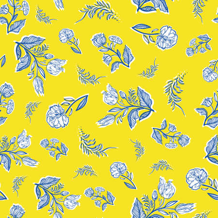 Vintage classic french floral pattern. Retro line art floral bouquet design. Elegant outline florals on cut out shape, vibrant yellow background. Elegant nature botany design. Perefect for kitchen ware, fabric, stationery and gift wrap.