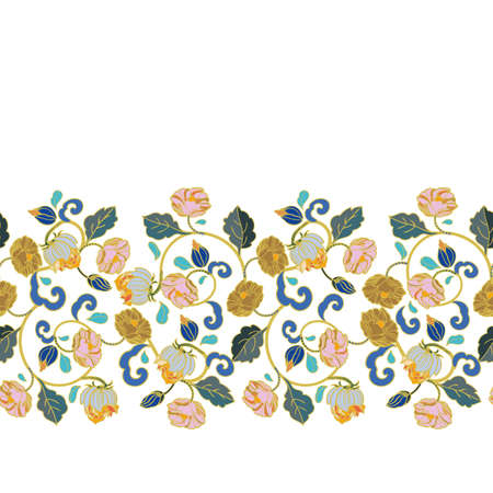 Vector royal baroque intarsia style floral border, seamless design with hand drawn historic florals on white background. Nature background. Surface pattern design. Ilustração