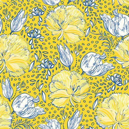 Retro antique tulip half drop pattern. Vintage country style hand drawn floral bouquet. Line art florals on cut out shape, vibrant yellow background. Elegant nature background. Perfect for home decor, fabric and gift wrap. Ilustração
