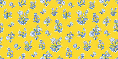 Retro antique french floral half drop pattern. Vintage line art floral bouquet design. Classic outline florals on cut out shape, vibrant yellow background. Elegant nature background. Perefect for kitchen ware, wallpaper and gift wrap. Ilustração