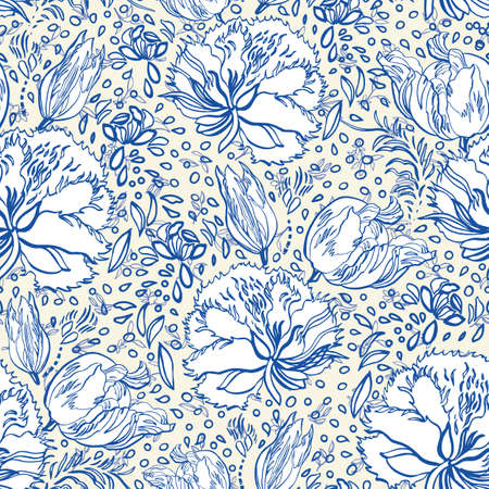 Retro porcelain blue floral pattern. Vector vintage, country style, hand drawn floral bouquet. Line art florals on white background. Elegant nature background. Perfect for home decor, fabric and gift wrap.