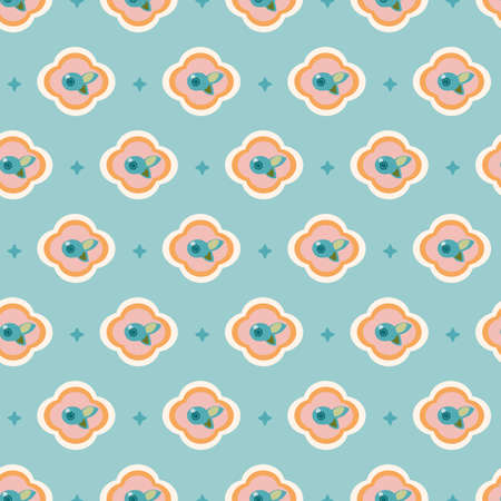 Vector geometric stylized blue floral tile pattern with berry. Seamless vector design, simple ornament and plant in pink and teal. Cutout abstract design. Perfect for paper projects, fabric and home decor. Ilustração