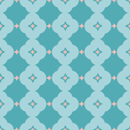 Vector geometric stylized blue floral tile pattern. Seamless vector design, simple ornament in pink and teal. Cutout abstract design. Perfect for paper projects, fabric and home decor. Ilustração