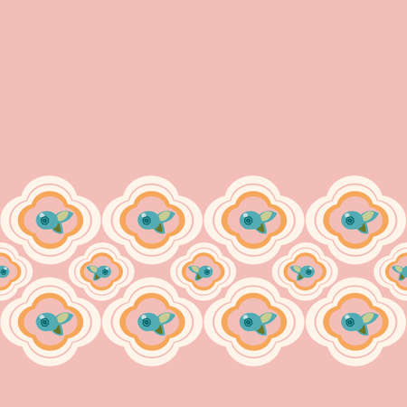 Vector geometric stylized blue floral tile border with blueberry. Seamless vector pattern, simple ornament and plant in pink and teal on pale pink. Cutout abstract design. Perfect for paper projects, fabric and home decor.