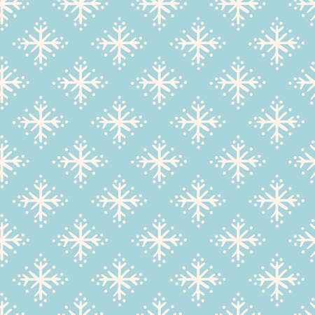 Vector geometric snowflake pattern. Seamless vector design, simple stylized ice crystal on bright blue background. Half drop abstract design. Perfect for paper projects, fabric and home decor.