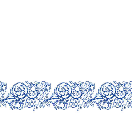 Vector seamless retro rose border. Vintage porcelain blue, hand drawn rose garland, embroidery style design. Line art florals on white background. Elegant nature background. Perefect for kitchen utensils, textile and home decor.
