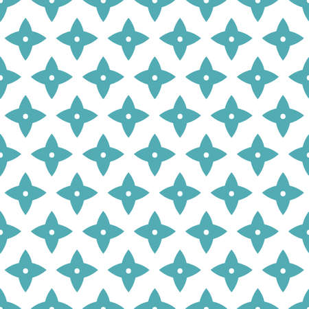 Vector geometric stylized blue flower pattern. Seamless vector design, simple ornament in blue tones. Cutout abstract star design. Perfect for paper projects, fabric and home decor.