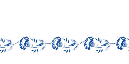 Vector classic porcelain blue floral garland. Royal hand drawn floral seamless design. Blue cutout florals on white background. Elegant nature background. Surface pattern design. Ilustração