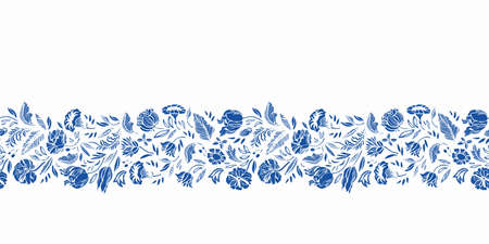 Vector classic porcelain blue floral border. Seamless royal hand drawn baroque design. Blue cutout florals on white background. Elegant nature background. Surface pattern design. Ilustração