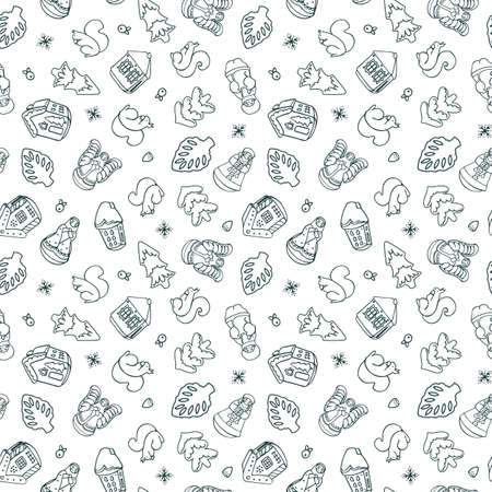 Vector doodle cute christmas ornament seamless pattern. Hand drawn line art design. Food, packaging, gift wrap. Modern brush design. Perfect for your festive family event. Ilustração