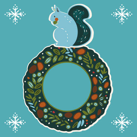 Vector stylized christmas wreath with cute squirre. Hand drawn illustration set with stylized chipmunk on christmas decoration on blue background. Perfect for joyful xmas projects.
