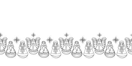 Vector cute matrjoschka christmas border. Seamless geometric xmas pattern with stylized russian doll and christmas decoration on white background. Doodle, line art style. Perfect for fabric, packaging and gift wrap.