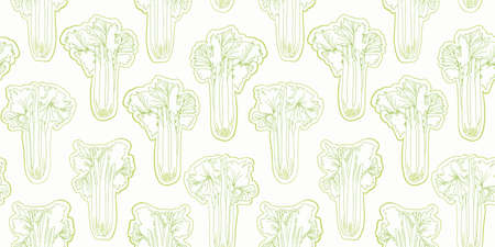 Thin LIne Celery Seamless Vector Repeat Background. Botany Outline Vegetable Design. Fresh All Over Repeat. Food, Kitchen, Kitchen Wear, Apron, Cooking, Health. Vector