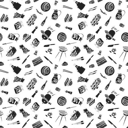Linocut Style Barbecue Garden Party Pattern. Seamless Vector Repeat Background. Brush Pen Design. Kitchen Tools. Food, Kitchen Wear, Summer Party.