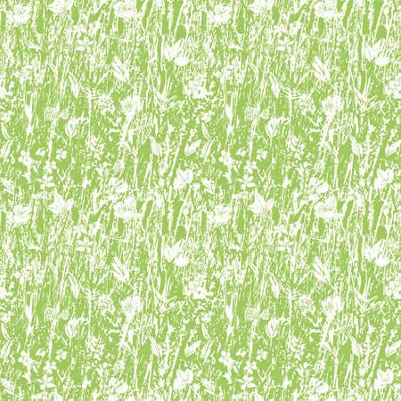 Abstract Texture Grassland Meadow Vector Pepeat Background. Seamless Irregular Textured Green Nature Design With Botany Blossom. Close Up, All Over Repeat. Interior Design, Home Decor, Packaging. Vector EPS 10 Tile.