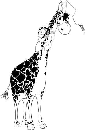 Aboard a giraffe Illustration