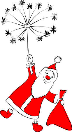 Santa Calus flying on a dandelion