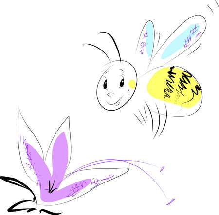 Flower and bee Vector