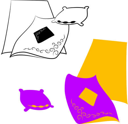 coverlet: Blankets, sheets and pillows Illustration