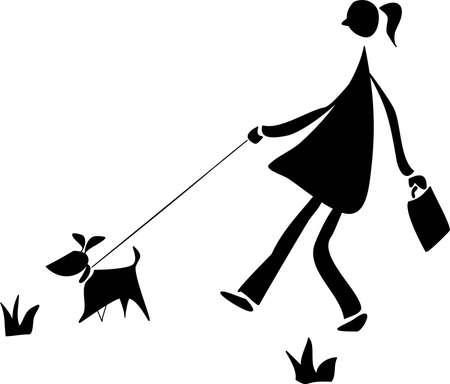 dog leash: walking with a dog Illustration