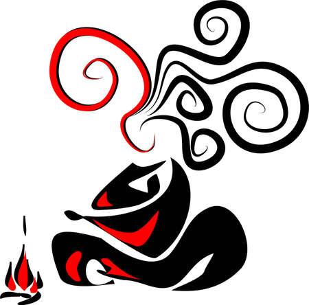 squat: Cross-legged woman near the fire
