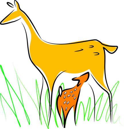 nursing mother: Nursing deer Illustration