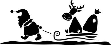 Santa Claus and his deer - black and white Illustration