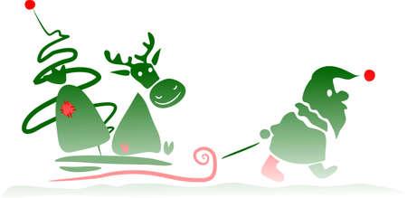 Weihnachtsmann und seine Rotwild - gef�rbt  Illustration