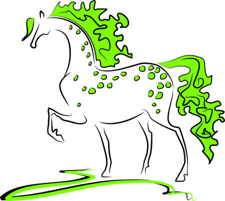 dapple horse: Green horse Illustration