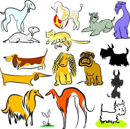 A set of dogs Vector