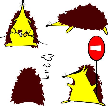Set of hedgehogs Vector