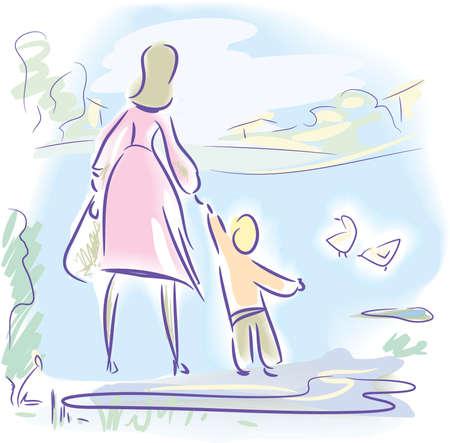 Fr�hling-Spaziergang Illustration