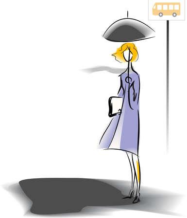 blue grey coat: Bus stop Illustration